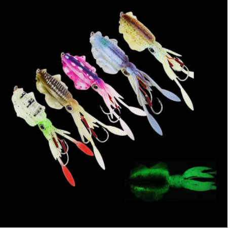 60G Squid Glow Fishing Soft Lure With Lead Jigging Hook Sea Fishing