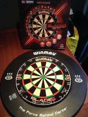 WINMAU 1pc Black Dartboard Surround and BLADE 5 DUAL CORE board setup