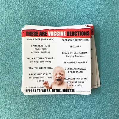 Info Cards - Vaccine Reactions - (100 qty)