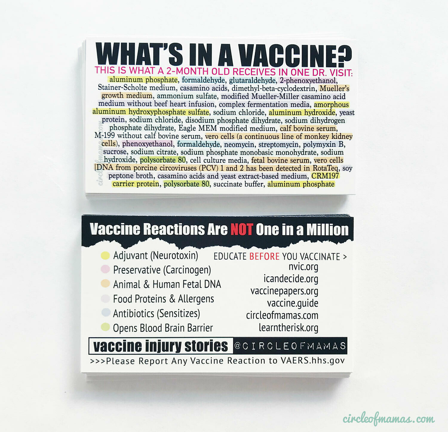 Info Cards - What's In A Vaccine? (qty. 100)