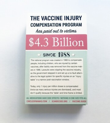 Postcards: Vaccine Injury Compensation / Vaccine Schedule (50 qty.)