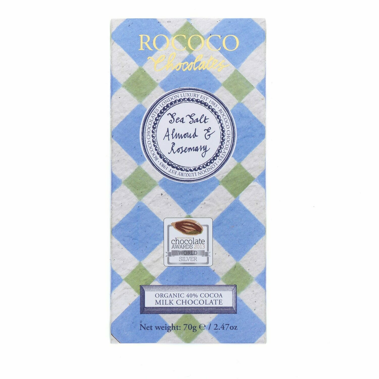 Rococo - Sea Salt, Almond and Rosemary Milk Chocolate