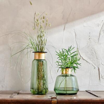 Tall Glass Brass Vase