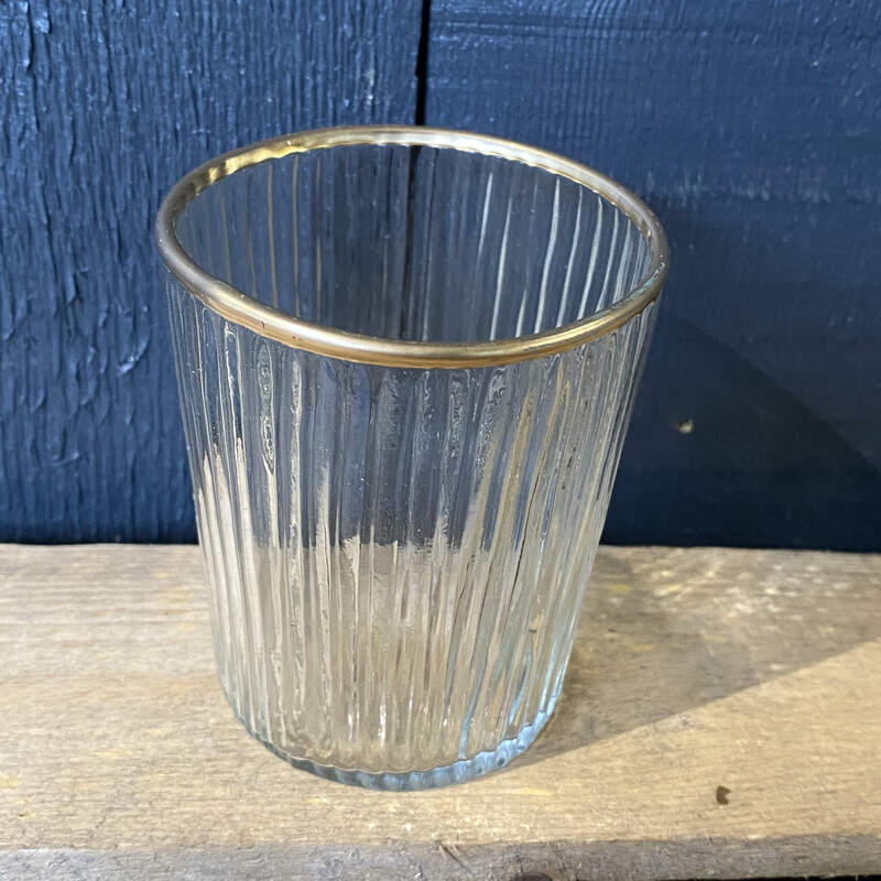 Glass Ribbed Votive Gold Rim