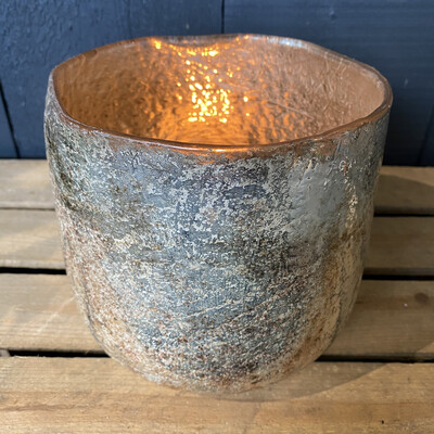Silver Lava Tealight Holder