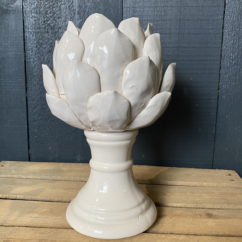 White Artichoke Candle Holder
