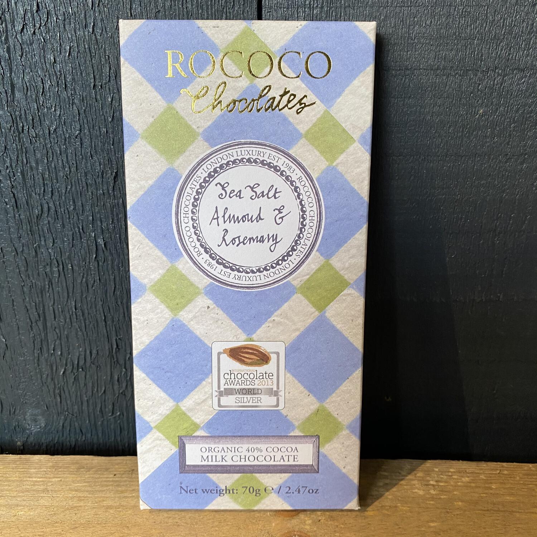 Rococo Sea Salt, Almond and Rosemary Milk Chocolate