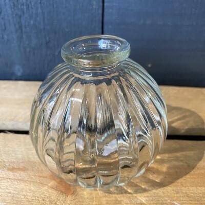 Ribbed Bud Glass Vase