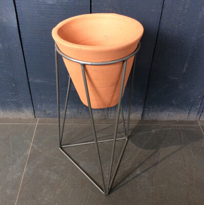 Small Terracotta And Iron Planter