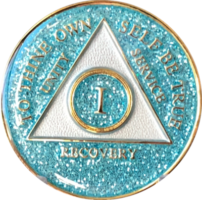 Aqua Glitter Medallion in years 1-5