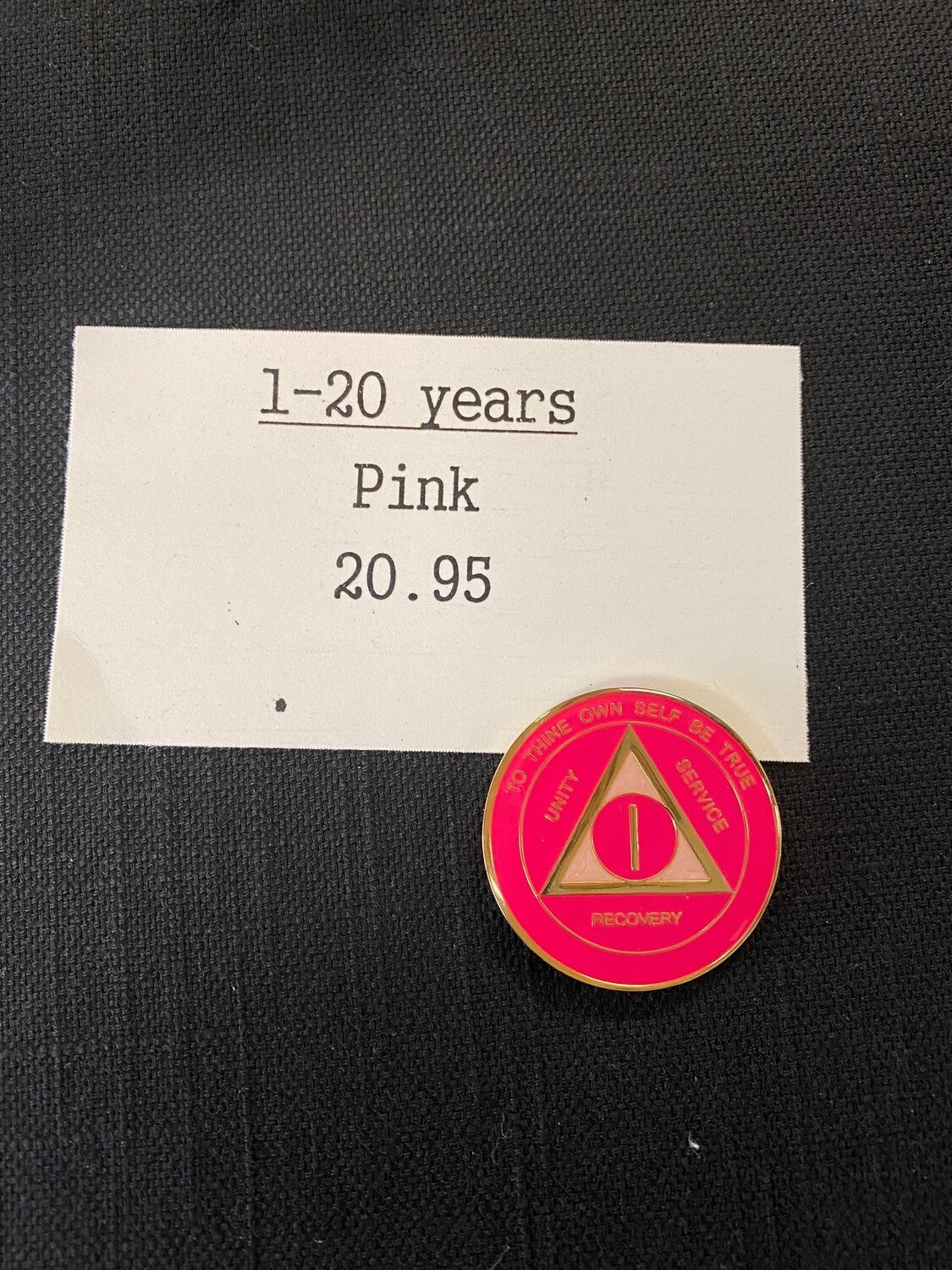 Pink and gold medallion years 1-20