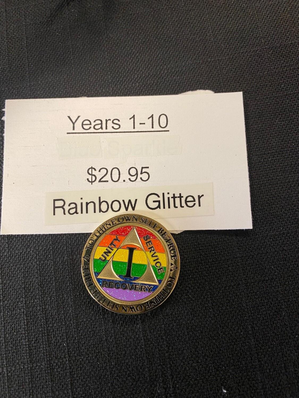 Rainbow Glitter Medallion Years 1-10