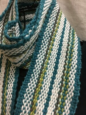Teal Beauty -Traditional Irish Handwoven scarf or sash