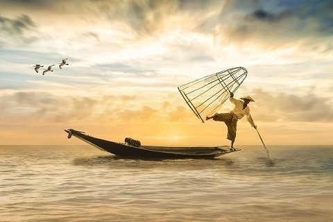 Fisherman Art Picture Print with Frame