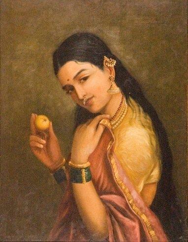 Lady Holding Fruit - Raja Ravi Varma Art Copy Picture Print with Frame