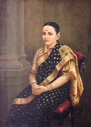 Lady Portrait 1893 - Raja Ravi Varma Art Copy Picture Print with Frame