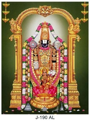 Lord Balaji & Goddess Lakshmi Picture Print with Frame