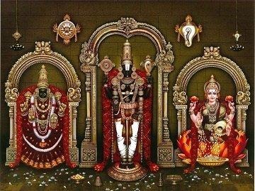 Lord Balaji with Goddess Lakshmi and Padmavati Picture Print with Frame