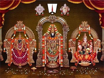 Lord Balaji with Goddess Lakshmi and Padmavati Picture Print with Frame