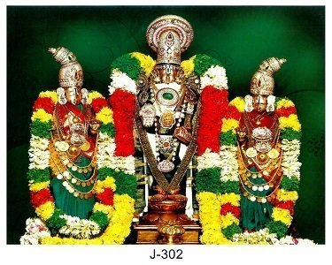 Lord Balaji with Goddess Sridevi & Bhudevi Picture Print with Frame