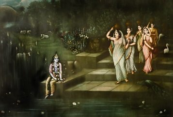 Lord Krishna Art Picture Print with Frame - Yamuna Ghat (Rare Collection)