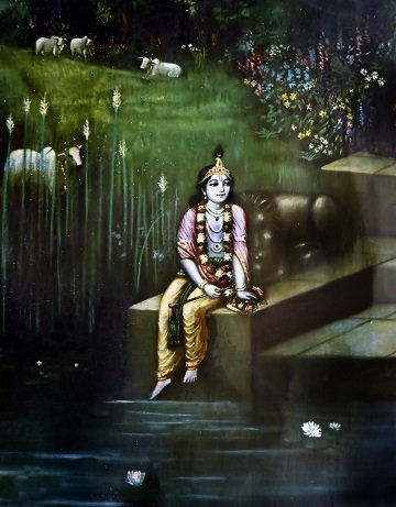 Lord Krishna at Yamuna Ghat Art Photo Frame (Rare Collection)