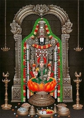 Lord Balaji and Goddess Lakshmi Picture Print with Frame