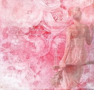 Women with Roses background Picture Print with Frame