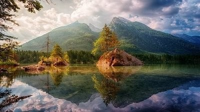 Mountain background Lake Picture Print with Frame