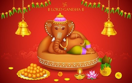 Lord Ganesha Picture Print with Frame