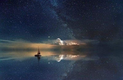 Sailing Boat against the Night Sky - Picture Print with Frame