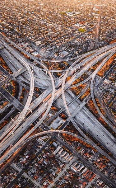 Los Angeles Highways - Picture Print with Frame