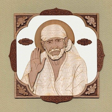 Lord Sai Baba - Wood Work Picture Frame