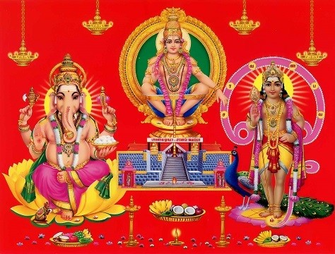 Lord Ayyappan Swamy, Ganesh, Subramanyam  Photo Frame