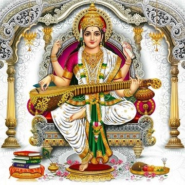 Goddess Saraswati - Matt Laminated Photo Frame
