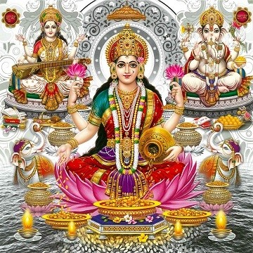 Goddess Laxmi, Saraswati & Lord Ganesh Picture Print with Frame