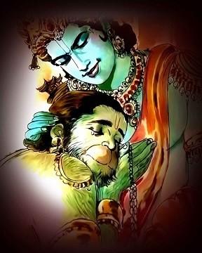 Lord Rama and Hanuman Printed Art Copy with Frame