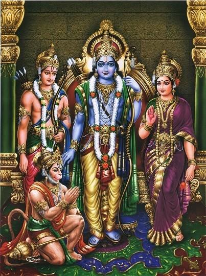 Lord Rama, Hanuman, Lakshman and Goddess Sita Picture Print with Frame
