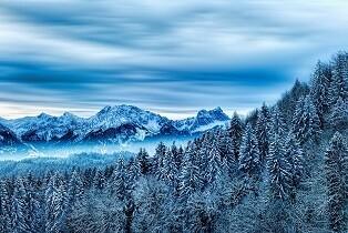 Snowy Mountain Peaks & Trees Photo Frame