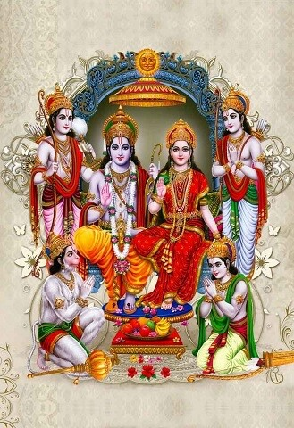 Lord Rama and Goddess Sita Picture Print with Frame