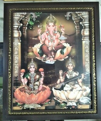 Lord Ganesh, Goddess Lakshmi & Saraswati Photo Frame