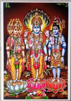 Lord Vishnu, Brahma & Shiva Photo Frame
