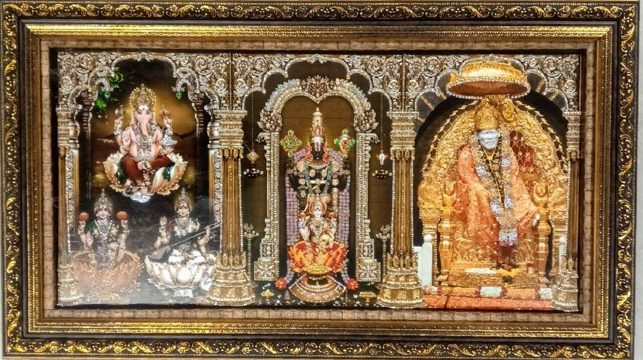 Lord Ganesh, Balaji & Saibaba Photo Frame