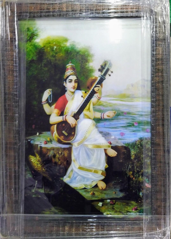 Goddess Saraswati - Raja Ravi Varma Printed Art Copy Frame