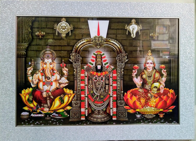 Lord Balaji, Ganesh Ji and Goddess Lakshmi Photo Frame
