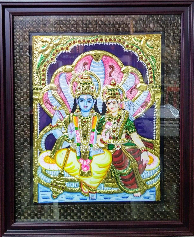 Lord Vishnu - Tanjore Art work Gold Foil Frame