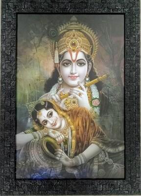 Lord Sri Krishna and Radha Devi - Black Photo Frame