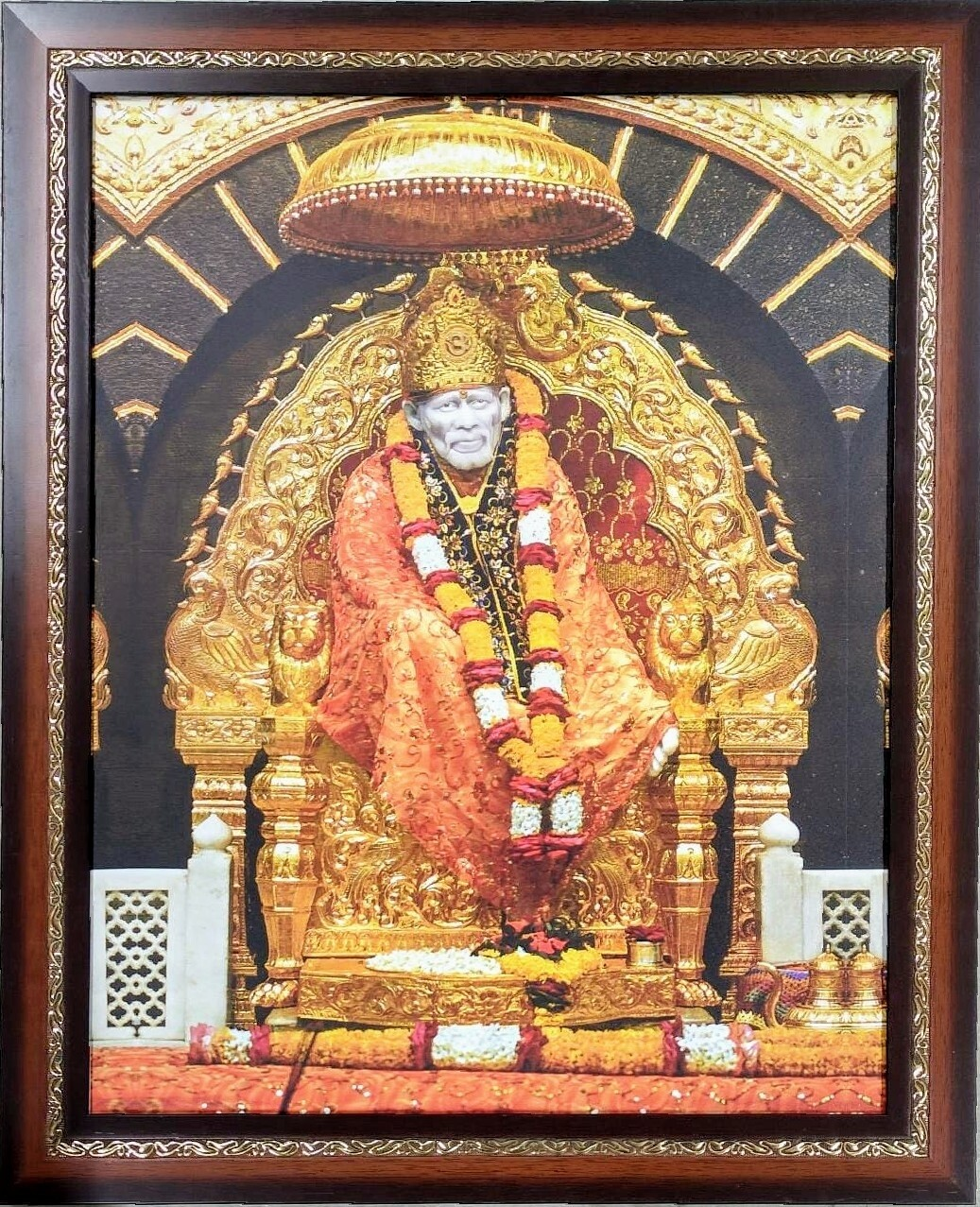 Lord Saibaba Photo Frame - Gold color lining