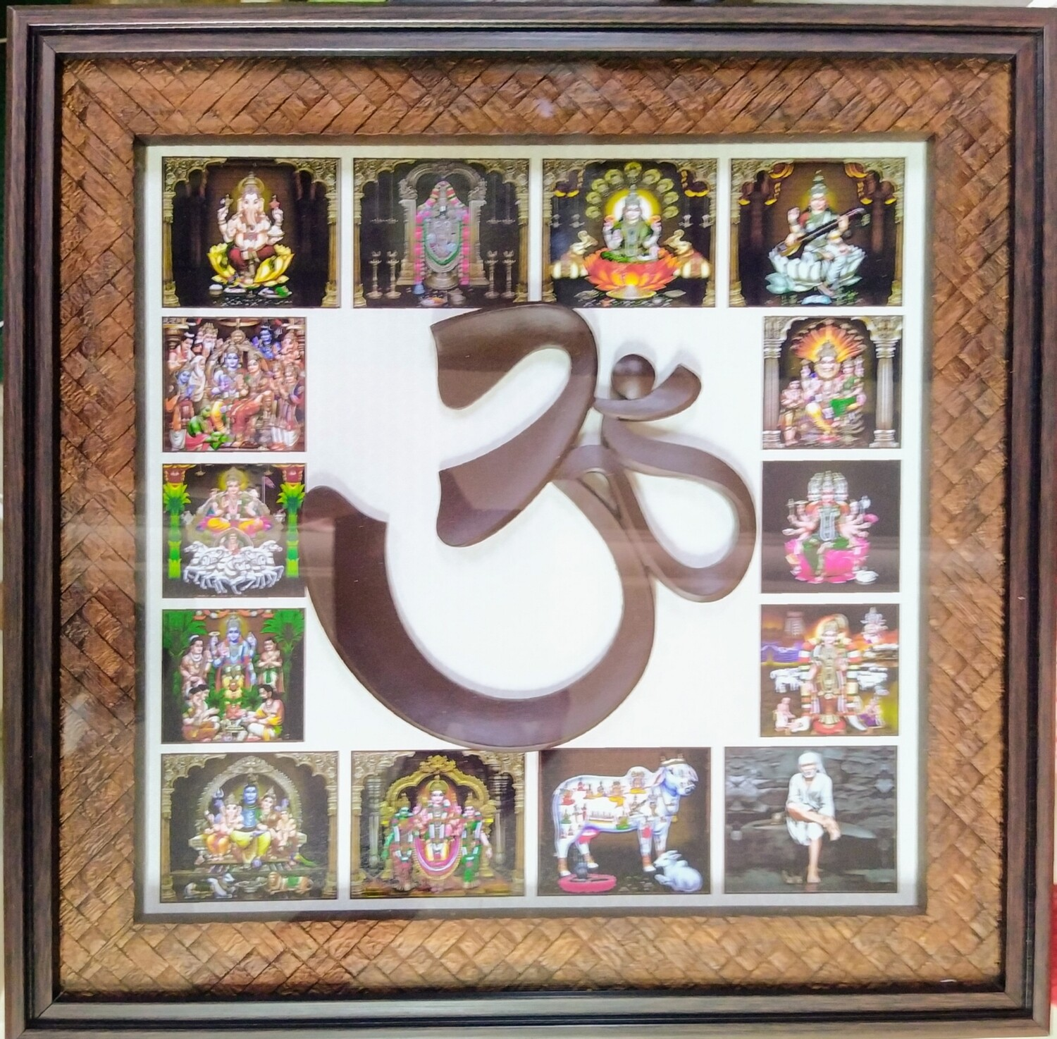 Om Crafted Work with All in one God images Photo Frame