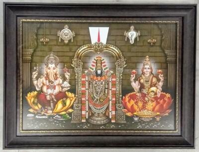 Lord Balaji, Ganesh Ji & Goddess Lakshmi Photo Frame